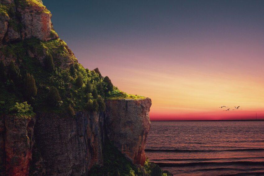 cliff, sea, sunset